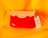 Red Canvas and Tan Leather Purse