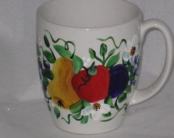 SALE Hand Painted White ceramic Coffee Mug with Fruit