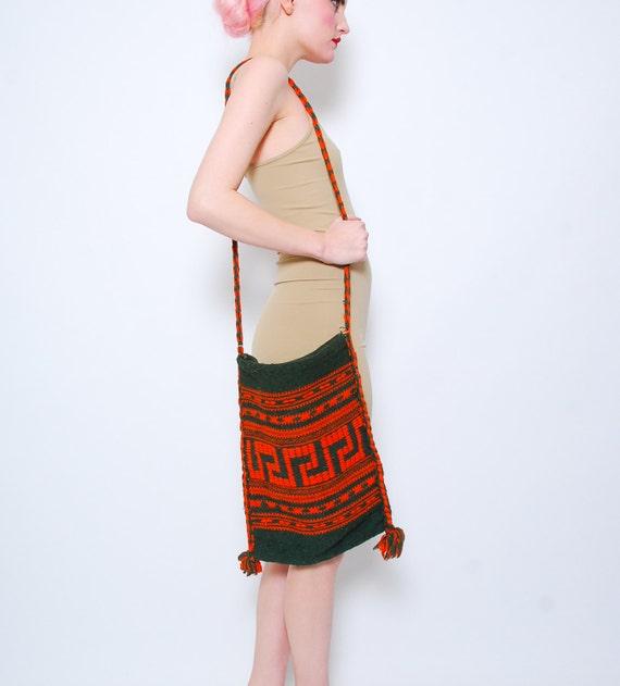 SALE 70s Woven Ethnic Purse - Green Orange Tassel - Tribal Bag - Hippie Bohemian Purse - 1970s Large Festival Bag