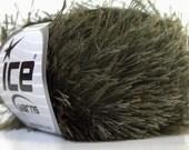 Dark Khaki Green Ice Eyelash Yarn Solid Green Fun Fur 82 Yards 22788
