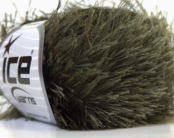 Dark Khaki Green Ice Eyelash Yarn Solid Green Fun Fur 82 Yards 22788