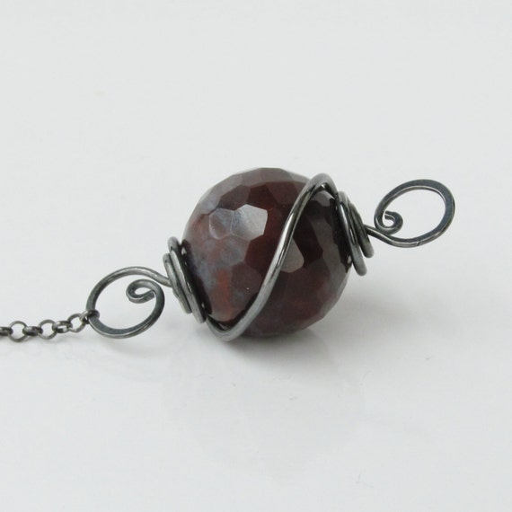 Burgundy Gray Jasper Necklace, Convertible Pendant Necklace, Jasper Stone Pendant, Oxidized Sterling Necklace