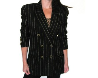 Pinstripe Black Blazer, Gold Lame Stripe Boyfriend Blazer, Military Jacket, Metallic Gold, Vintage Couture, SMALL