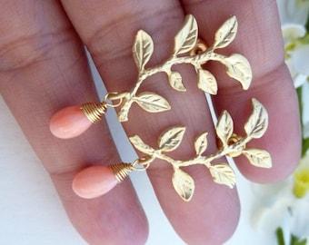 PINK CORAL 6kt Golden Leaf Branch Post Earrings