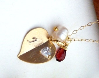 Sweet Heart Necklace - Custom Initial Gold Folded Heart with Heart CZ, Custom Stone and Pearl Necklace in 14k Gold Filled Chain