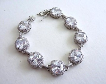 Bridal Bracelet - 8 Large Cushion Square Cubic Zirconia Gems Bracelet