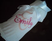 Personalized Soft Chenille knitted baby blanket in White or Blue