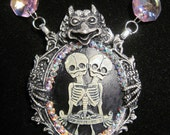 Siamese Twin Freak show Cameo in Gargoyle frame with  Swarovski crystals