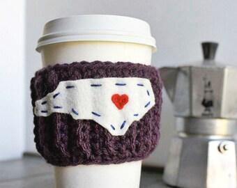 Travel Mug Coffee cozy North Carolina State purple red starbucks cup crochet cover
