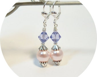 Earrings, Purple and Pink,  Bridesmaid Earrings, Bridesmaid Gift, Lavender and Pink, Dangle Earrings, Pink and Purple, Bridal Accessories