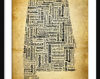 Alabama State Map Alabama City Cities Typography Grunge Map Poster Print