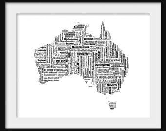 Australia Map Typography Map Poster Print Text Map