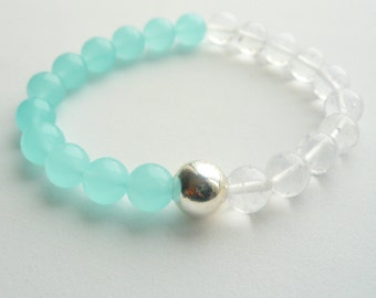 Semi Precious Larimar and Rock Crystal Stones with Sterling Silver Bead