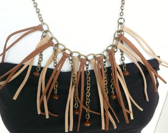 Fringe & Chain Statement Necklace