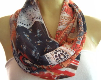 Southwestern Flair  infinity scarf  patchwork print chiffon scarf Circle, loop scarf Necklace scarf  Tube version-last one