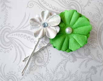 Bobby Pins -- Flower -- Green Periwinkle -- Mulberry Paper