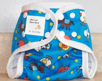 Medium PUL Diaper Cover with Leg Gussets- 10 to 20 pounds- Blue A Doodle- 22008