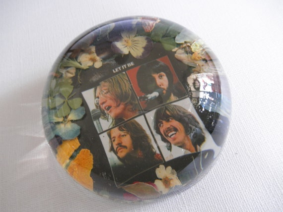 Let It Be-Beatles Album Cover Beneath Glass-Domed Real Pressed Flower Paperweight