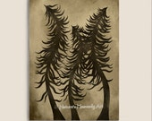 Earthtone Brown Wall Decor Pine Tree Print 5 x 7 Art, Fantasy, Natural Earthy Colors, Beauty of Nature Print