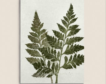 Green Fern Art 5 x 7 Print, Vintage Style Natural Wall Decor, Earthy Colors, Botanical Leaf Print