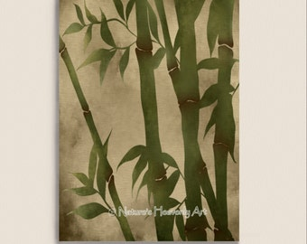 Japanese Green Grass Bamboo Wall Art, Nature Print 5 x 7, Bamboo Plant Home Decor, Earthy Natural Colors