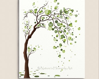 Green Tree Watercolor Art 8 x 10 Print, Love Birds, Tree Illustration, Modern Wall Decor, Circles, Polka Dots (168)