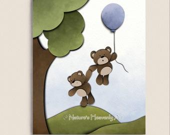 Brown Teddy Bear Childrens Wall Art Print 8 x 10, Boys Nursery Room Decor, Childs Print, Kids Art, Balloon (174)