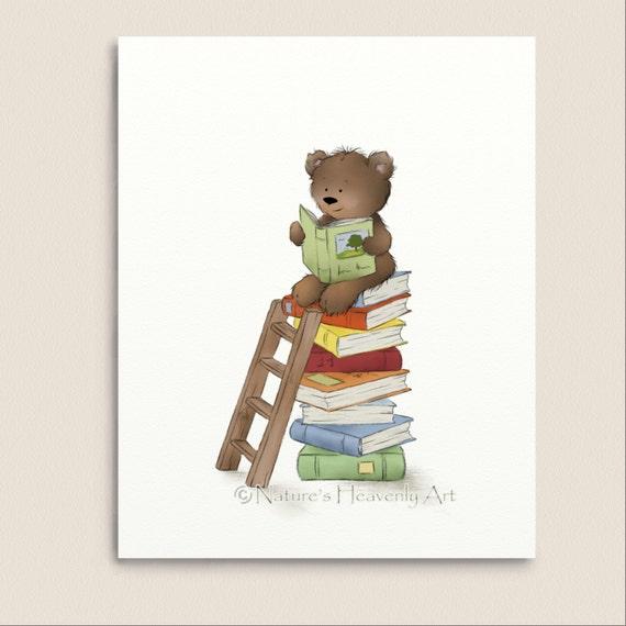 Cute Brown Teddy Bear Print, Nursery Room Art, Reading Books, Childrens Wall Art, Childs Print 8 x 10 (158)