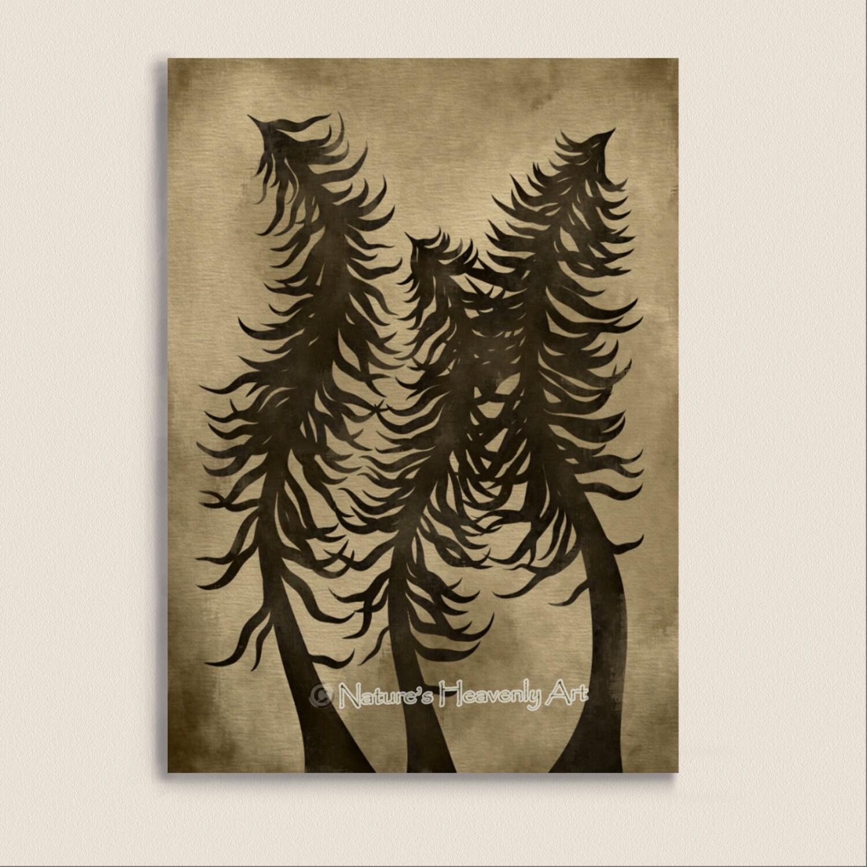 Wall Decor Pine Trees : Earthtone brown wall decor pine tree print by