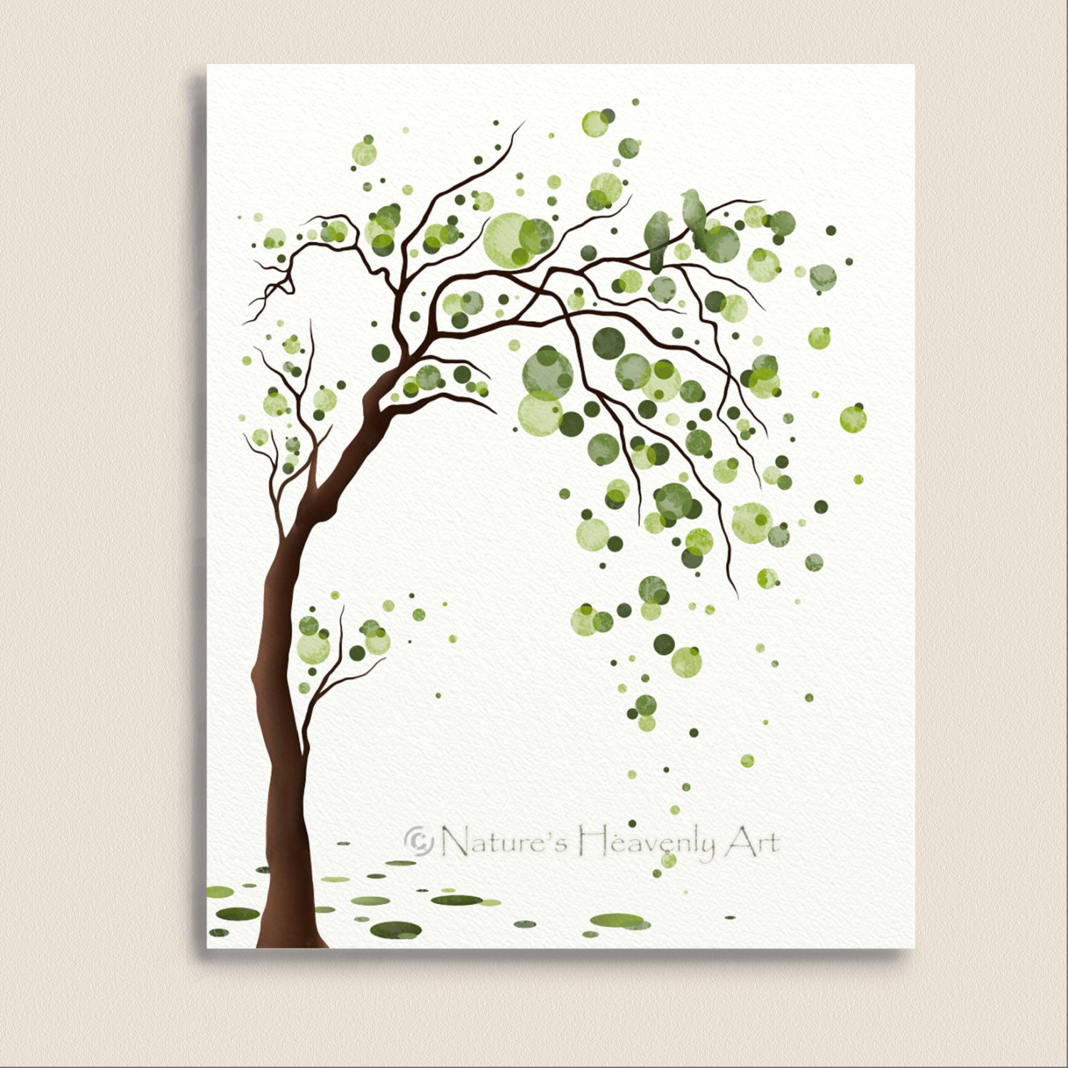 Green tree watercolor art 8 x 10 print love by naturesheavenlyart