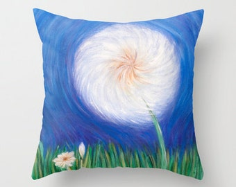 Dandelion Art Pillow Cover 16x16, 18x18 or 20x20