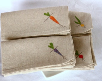 Cloth Napkins, Root Vegetables on Natural Linen and Cotton Blend, Set of 4 Sixteen inch Dinner Napkins