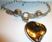 Vintage Elsa Peretti for Halston Solid Perfume Heart Compact on Modernist Necklace.