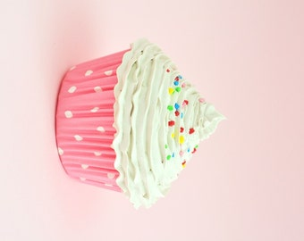BABY GIRL PHOTO prop cupcake - fake cupcake for photography session shoot  props girl first birthday pictures cupcake white icing