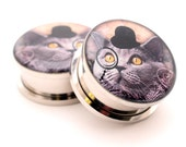 Gentleman Kitty STYLE 1 Picture Plugs gauges - 16g, 14g, 12g, 10g, 8g, 6g, 4g, 2g, 0g, 00g, 7/16, 1/2, 9/16, 5/8, 3/4, 7/8, 1 inch