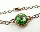 Peridot Bracelet August Birthstone Bracelet Peridot Birthstone Green Copper Bracelet Crystal Chain Bracelet