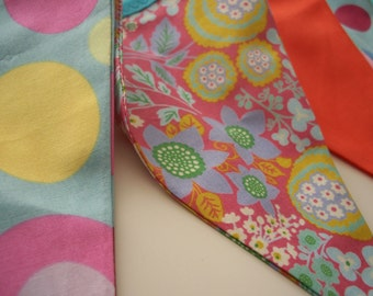 Bright and Colourful bunting - SPRINGTIME in Coral, Orange and Aqua - Perfect for parties, childrens bedrooms and garden parties