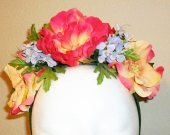 Joy - wild rose headpiece in orangey-red and yellow with purple accents - festival, fairy, costume,boho, wedding