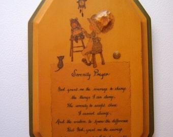 Vintage Serenity Prayer, wooden, Prayer plaque, wall hanging, decoupage, handmade art, folk art, girl, child, Raggedy Ann doll, cat, clock