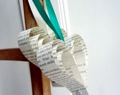 Wedding decoration x 10, Green White, Romantic Hearts, Paper Recycled Books - Bookity