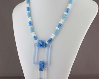 Blue Peyote Necklace with glass links