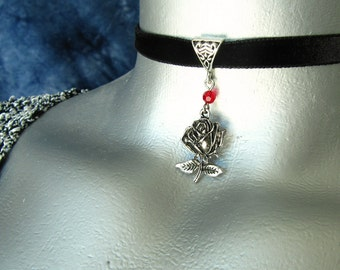 Stemmed Silver Rose Pendant Ribbon Choker Necklace -- Customizable