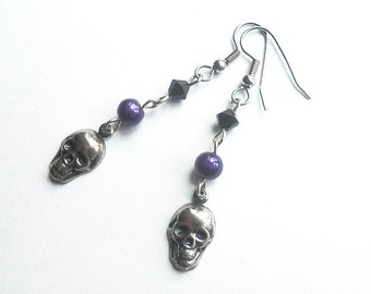 Skull earrings, Dark silver skull charms, Gothic jewelry, Purple, silver, and black