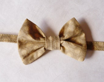 Tan and Yellow Polka Dot Bow Tie Collar For Cats and Small Dogs