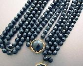 Vintage Black Glass Necklace Set with Bracelet French Jet Black Mourning Jewelry Downton Abbey Style