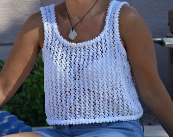 White lace tank top 100% cotton hand knit beachwear summer top womens gift for her knitted rank top summer fashion