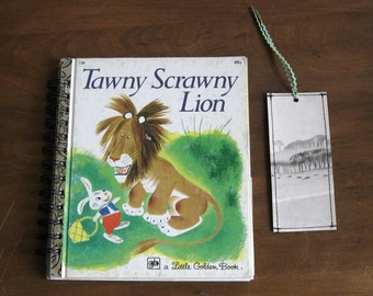 little golden book tawny scrawny lion journal or guest book with bookmark