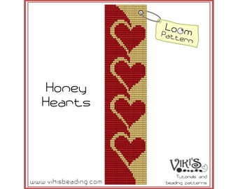 Bead Loom Pattern - Honey Hearts - INSTANT DOWNLOAD pdf - New Discount codes