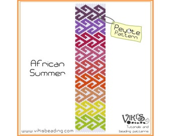 African Summer - Peyote Bracelet Pattern for cuff bracelet  - INSTANT DOWNLOAD pdf -Discount codes are available