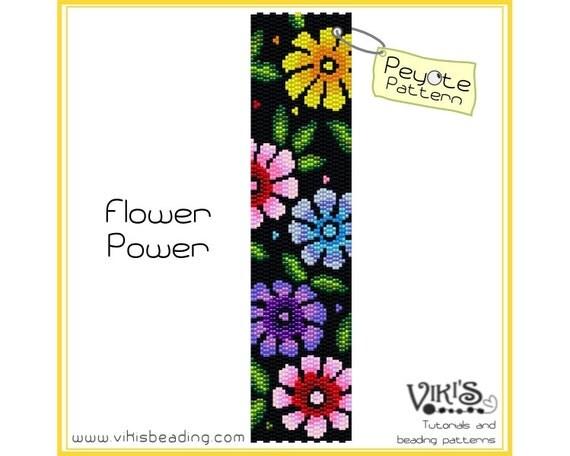 Flower Power: Peyote Stitch bracelet Pattern - INSTANT DOWNLOAD pdf / Special offer with voucher code